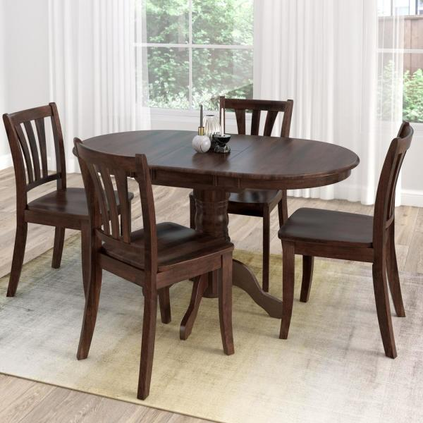 Whitley Cappuccino 5 Piece Dinette Set: CorLiving Dillon 5-Piece Extendable Cappuccino Stained