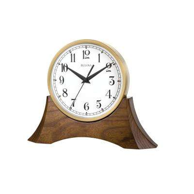 8.5 in. H x 10.6 in. W Brown Cherry Table Clock With Hardwood Base and Gold Tone Clock