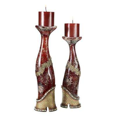 Burgundy Crystal Stone Polyresin Candleholders (Set of 2)