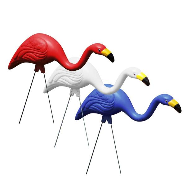 Red, White and Blue Plastic Flamingos Garden Yard Stake Decor (3-Pack)