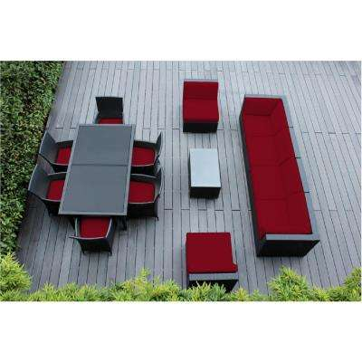 Black 14-Piece Wicker Patio Combo Conversation Set with Spuncrylic Red Cushions