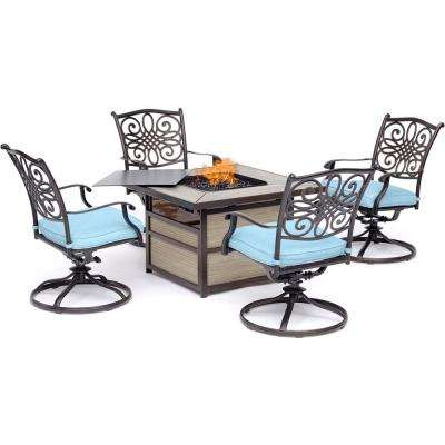 Traditions 5-Piece Aluminum Fire Pit Patio Seating Set with Blue Cushions, Swivel Rockers and Fire Pit Table