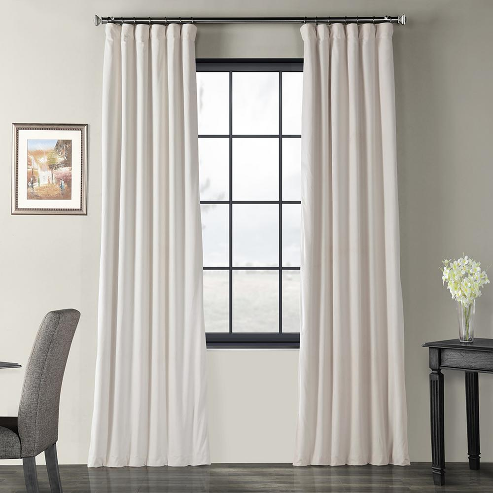 Exclusive Fabrics & Furnishings Blackout Signature Ivory Blackout Velvet Curtain - 50 in. W x 108 in. L (1 Panel)