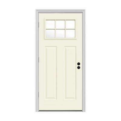 30 in. x 80 in. 6 Lite Craftsman Vanilla Painted Steel Prehung Right-Hand Outswing Front Door w/Brickmould