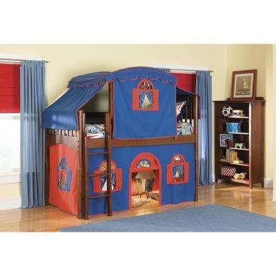 Mission Cherry Twin Low Loft Bed with Blue and Red Top Tent, Bottom Playhouse Curtain