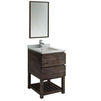 24 in. Modern Vanity with Open Bottom in Warm Gray with Quartz Stone Vanity Top in White with White Basin and Mirror