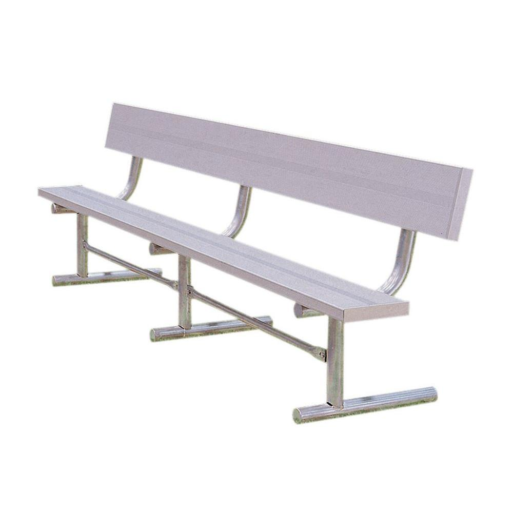 Ultra play 15 ft aluminum portable commercial park bench with back surface mount tsa15 the Aluminum benches