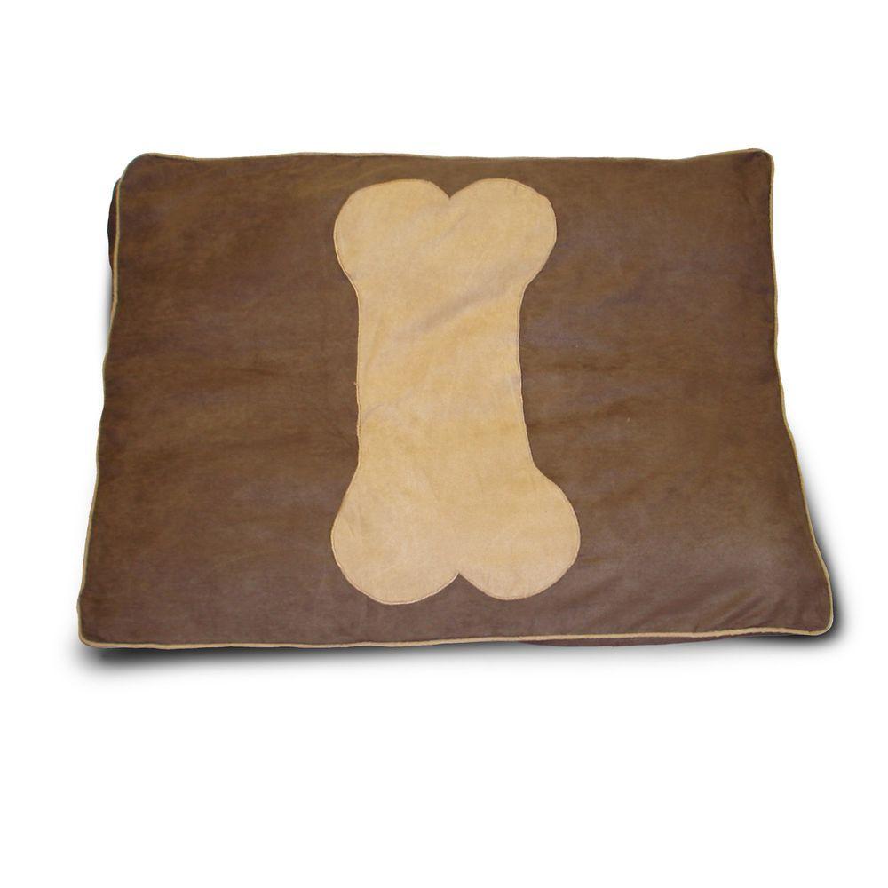 Dog Bone Chocolate Applique Deer Pet Bed