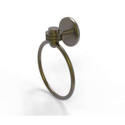 Satellite Orbit One Collection Towel Ring with Dotted Accent in Antique Brass