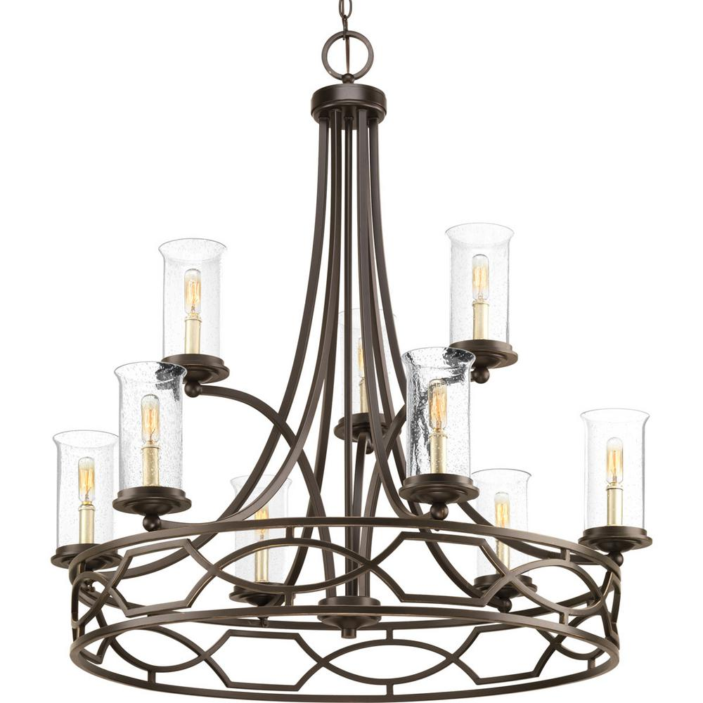 Soiree Collection 9-light Antique Bronze Chandelier with Clear Seeded Glass