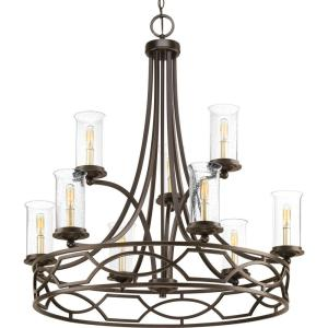 progress lighting fiorentino collection forged bronze. soiree collection 9-light antique bronze chandelier with clear seeded glass shade · progress lighting fiorentino forged a