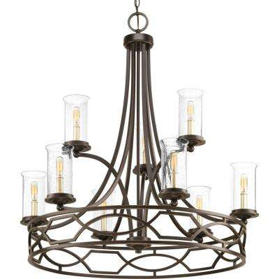 Soiree Collection 9-light Antique Bronze Chandelier with Clear Seeded Glass Shade