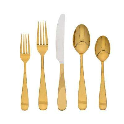 Cecelia Gold Mirror 20-Piece Flatware Set