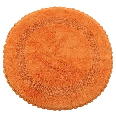 Crochet Lace 36 in. Round Cotton Reversible Orange Hand Knitted Crochet Lace Border Machine Washable Bath Rug