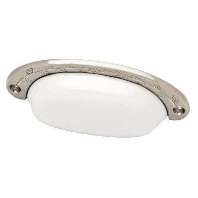 Ceramic Cottage 3-3/4 in. (96mm) Flat White and Satin Nickel Cup Drawer Pull