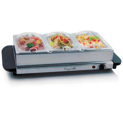Buffet Server and Food Warmer with 3 Sectional Trays