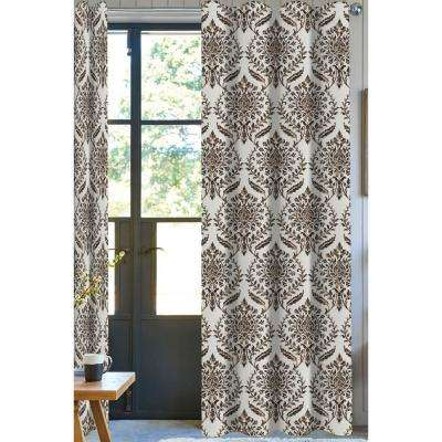 Eva Damask Light Filtering Drapery Panel in Brown - 50 in. x 96 in.