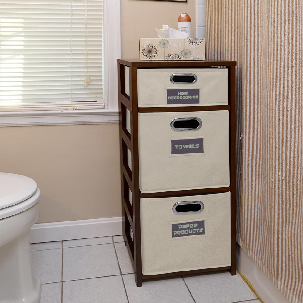 Flip Flop Mocha Walnut and Natural 3-Shelf Folding Bookcase and Storage Tote Set
