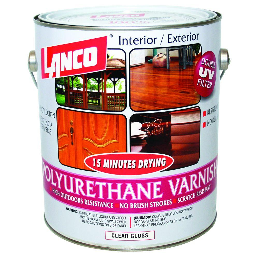 Lanco 15 minutes 1 gal polyurethane interior exterior varnish pv360 4 the home depot for Exterior polyurethane wood finish