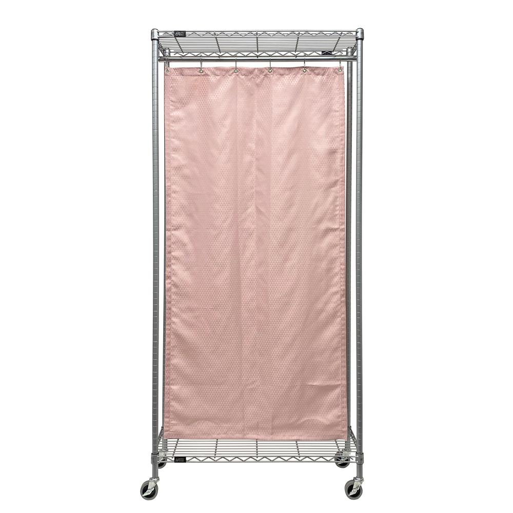 12 in. x 60 in. x 78 in. Double Curtain Mobile Privacy Partition Wire Shelving Unit