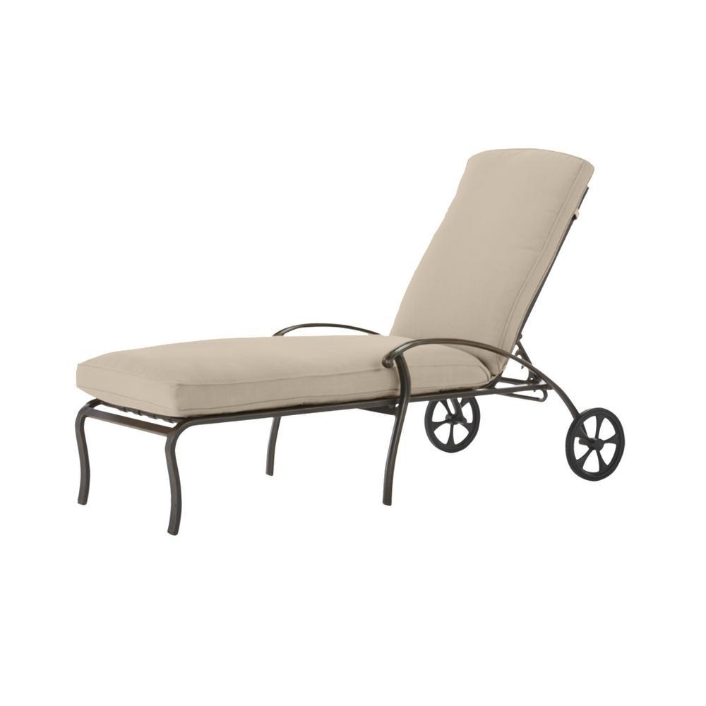 Ridge Falls Dark Brown Aluminum Outdoor Patio Chaise Lounge with CushionGuard Putty Tan Cushions