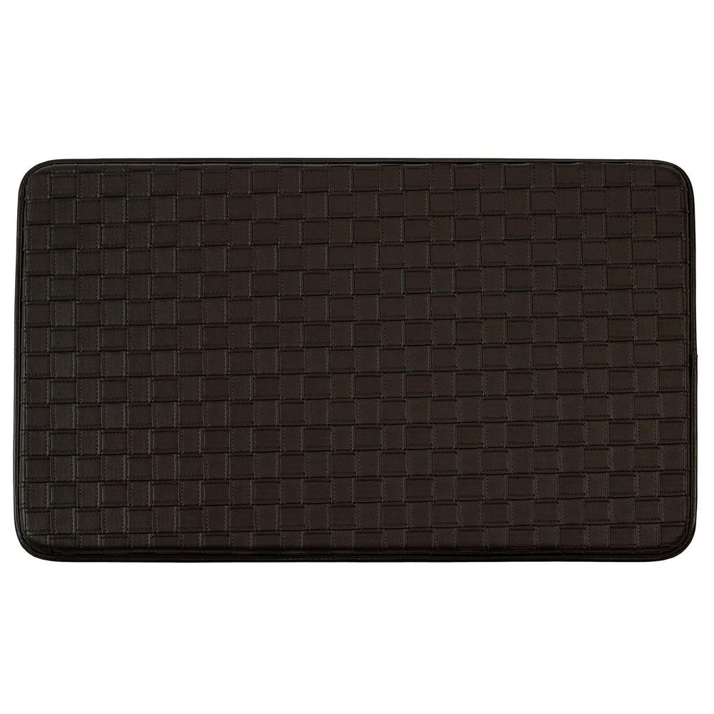 Chef Gear Basket Weave Faux Leather Espresso 18 In X 30 In Comfort Kitchen Mat