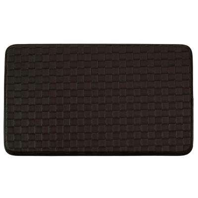 Basket Weave Faux-Leather Espresso 18 in. x 30 in. Comfort Kitchen Mat