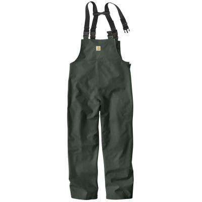 Men's Regular Medium Green Polyvinyl/Chloride Waterproof Bib Overalls