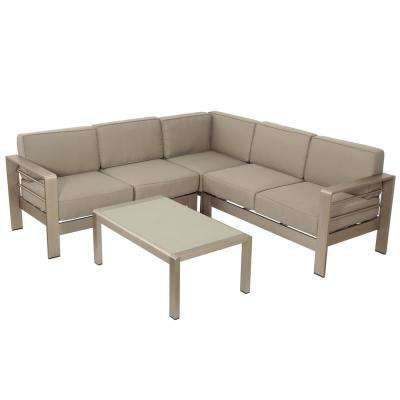 Cape Coral Silver 4-Piece Aluminum Outdoor Sectional Set with Khaki Cushions
