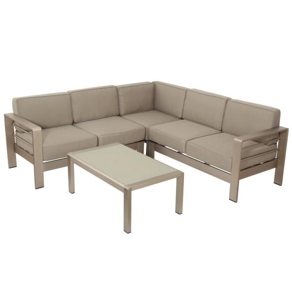 Noble House Cape Coral Silver 4-Piece Aluminum Outdoor Sectional Set with Khaki Cushions
