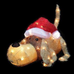 20 inch H Pre-Lit Clear Mini Lights Christmas Greeting Puppy by