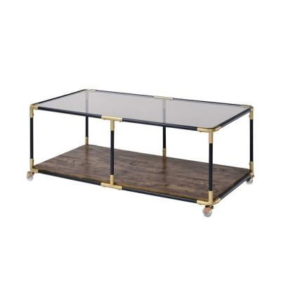 Amelia 19 in. Black, Gold And Smoky Glass Coffee Table
