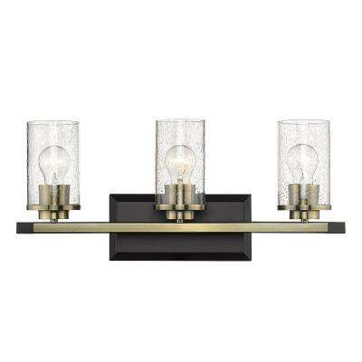 Mercer 3-Light Bath Vanity in Matte Black with Aged Brass Accents and Seeded Glass
