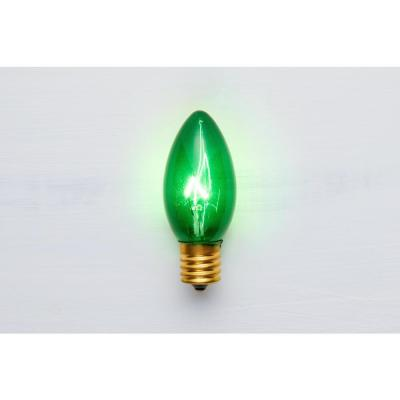 25 Green Commercial Grade Incandescent C9 Replacement Bulbs
