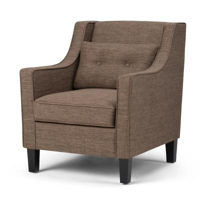 Ashland 29 in. Wide Transitional Club Arm Chair in Fawn Brown Linen Look Fabric