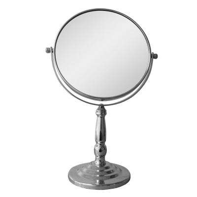 9 in. W x 14 in. H x 5 in. D Freestanding Bath Magnifying Makeup Mirror in Chrome