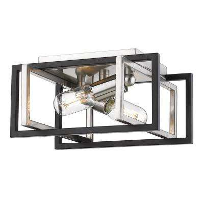 Tribeca 11.5 in. 2-Light Pewter with Black Accents Flush Mount