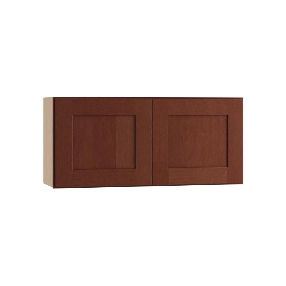 Home Decorators Collection Kingsbridge Assembled 30x15x12 in. Double Door Wall Kitchen Cabinet in Cabernet