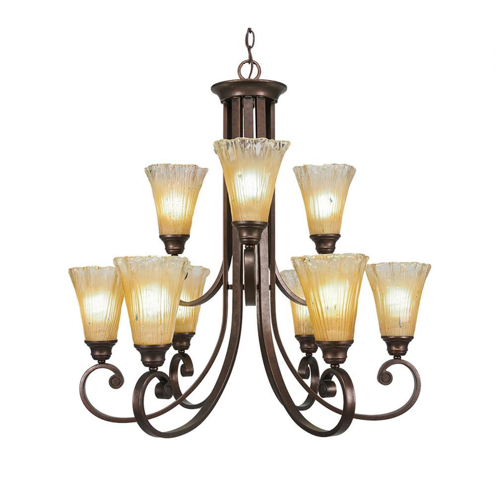 Filament Design 9-Light Bronze Chandelier with Amber Crystal Glass Shade