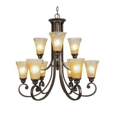 9-Light Bronze Chandelier with Amber Crystal Glass Shade