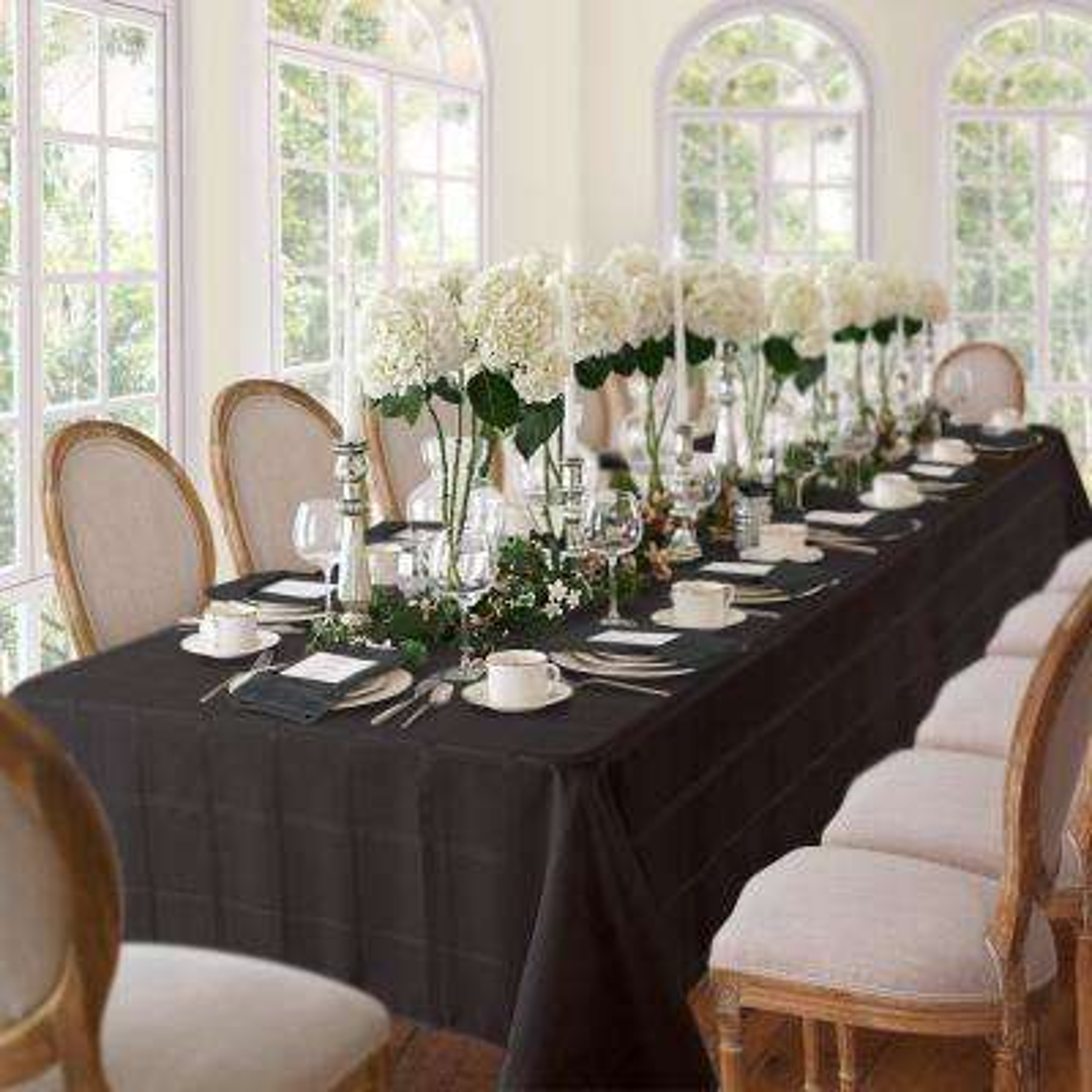 52 in. W x 70 in. L Black Elrene Elegance Plaid Damask Fabric Tablecloth