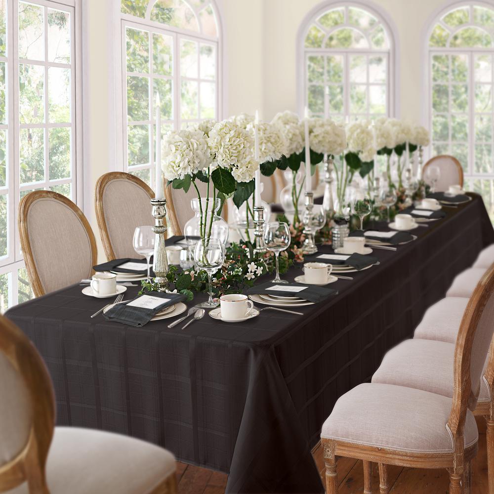 60 in. W x 102 in. L Black Elrene Elegance Plaid Damask Fabric Tablecloth