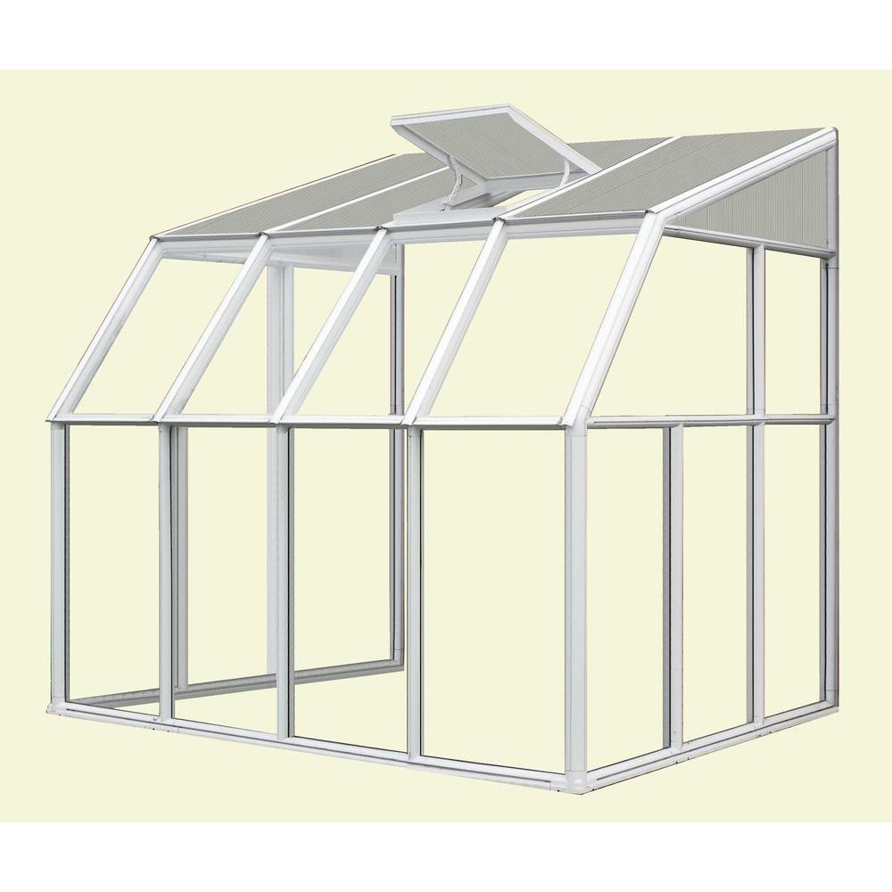 Rion Lean-To 6 ft. 6 in. x 12 ft. 7 in.White Frame Clear Acrylic Panels Sunroom Greenhouse-DISCONTINUED