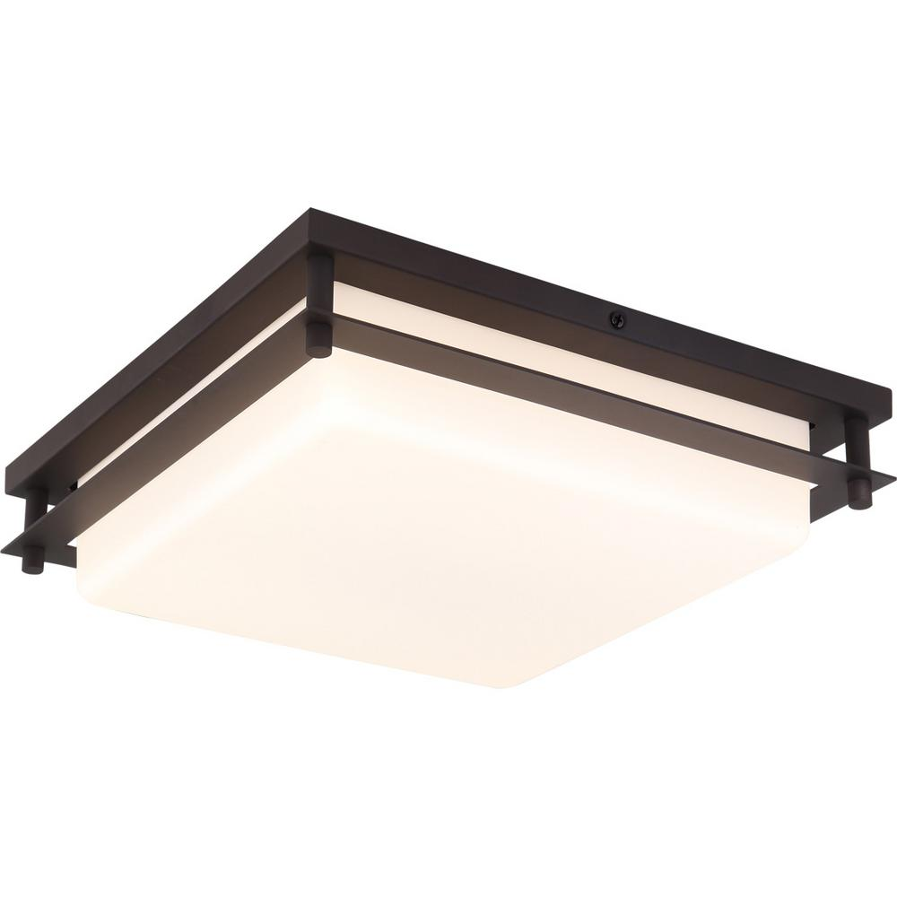 Volume Lighting 1 Light Small Led Indoor Outdoor Antique Bronze Bath Vanity Ceiling Flush Mount Wall Sconce Square White Shade