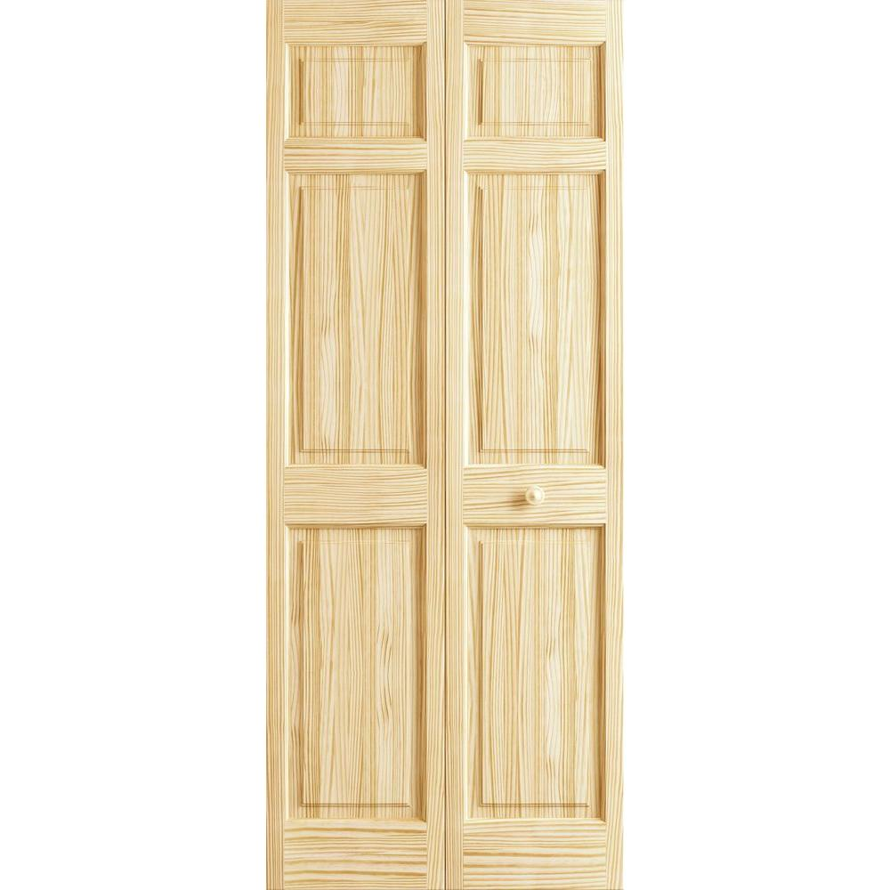 36 in. x 80 in. 6-Panel Pine Unfinished Premium Interior Closet