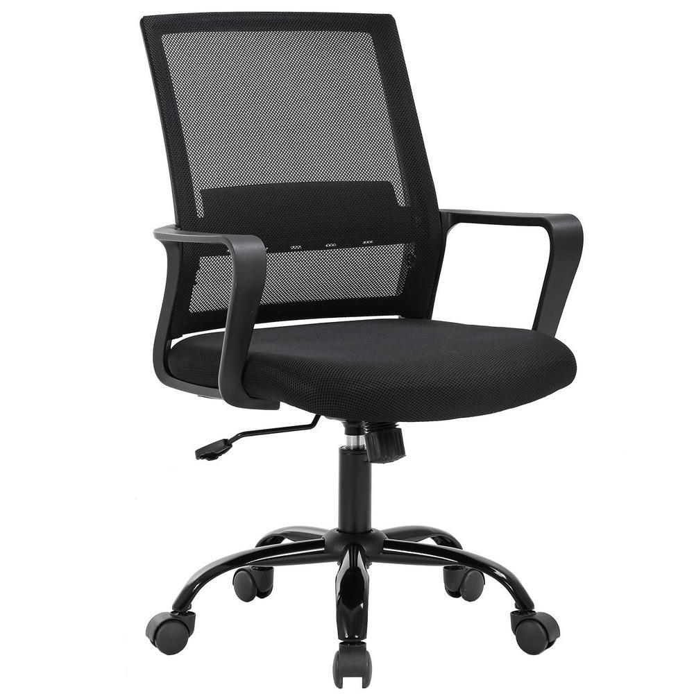Boyel Living Black Mesh Office Chair Computer Desk Task Chair Adjustable Armrest Ergonomic Design For Back Lumbar Support Chair Oc Mc735 Black The Home Depot