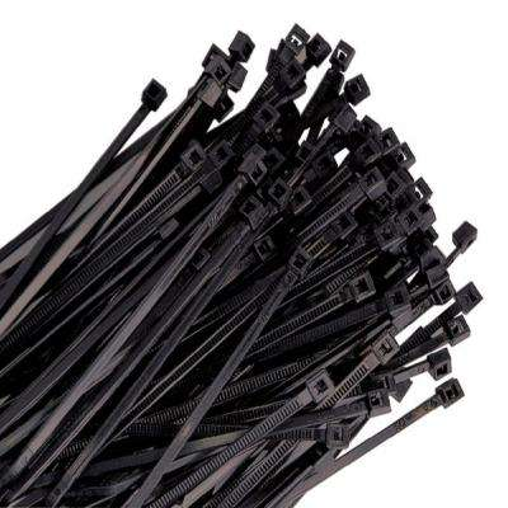 7 in. Black Wire Tie, 50 lb. Tensile (100-Pack)