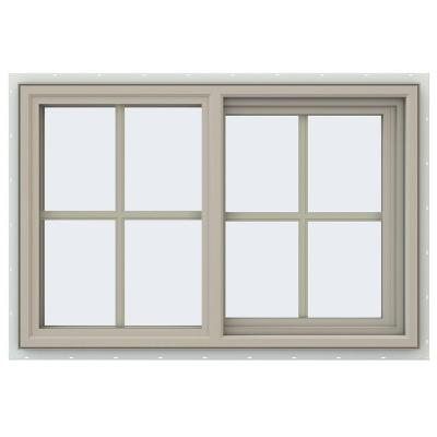 35.5 in. x 23.5 in. V-4500 Series Desert Sand Vinyl Right-Handed Sliding Window with Colonial Grids/Grilles