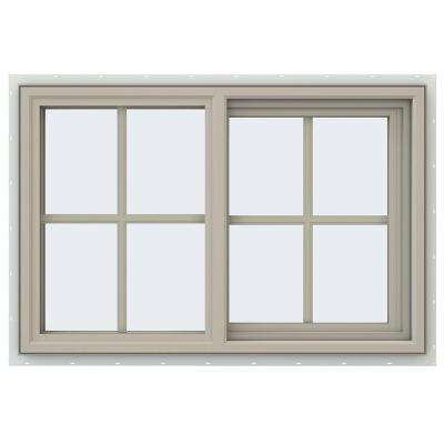 35.5 in. x 23.5 in. V-4500 Series Right-Hand Sliding Vinyl Window with Grids - Tan