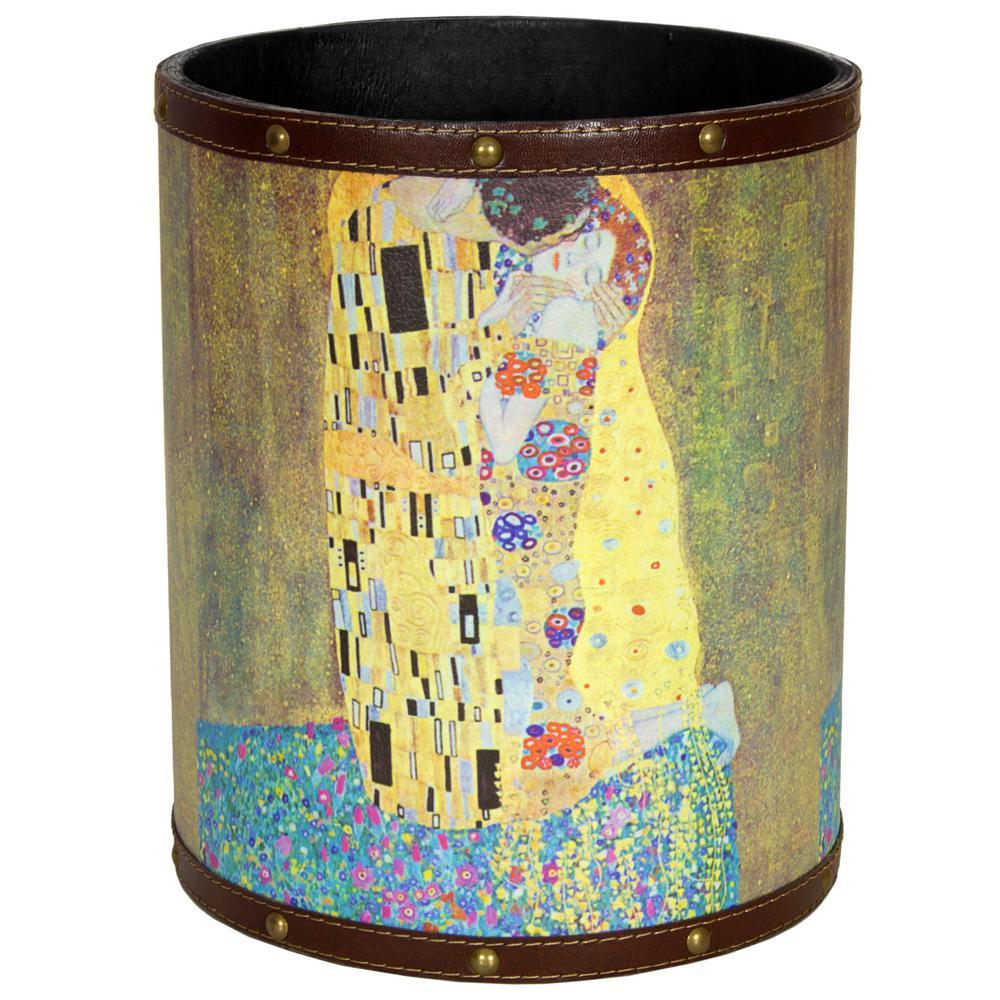 Oriental Furniture 8.25 in. x 10 in. Klimt The Kiss Waste Basket